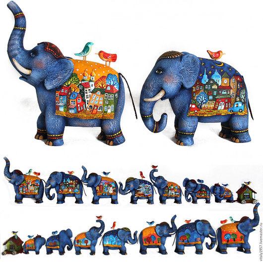 Игрушки животные, ручной работы. Ярмарка Мастеров - ручная работа. Купить Семь синих слоников-1 . Скульптура. Ручная роспись. Handmade.