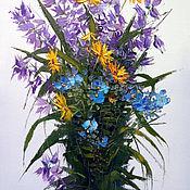 Картины и панно handmade. Livemaster - original item Picture Summer bouquet with bells decorated. Handmade.