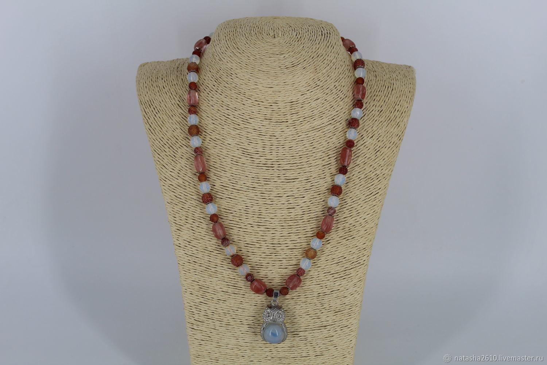 Necklace with pendant made of natural stones 'Wisdom', Necklace, Velikiy Novgorod,  Фото №1