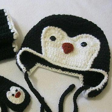 Works for children handmade. Livemaster - original item SET Penguin: hat, scarf and mittens for boy. Handmade.