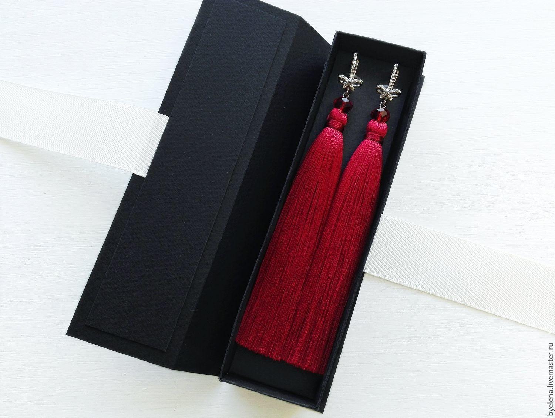"""Серьги кисти """" красный с бантиками"""", Earrings handmade, Novosibirsk, Фото №1"""