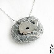 """Подвеска ручной работы. Ярмарка Мастеров - ручная работа Кулон """"Кит"""" в стиле """"мимими"""" из серебра. Handmade."""