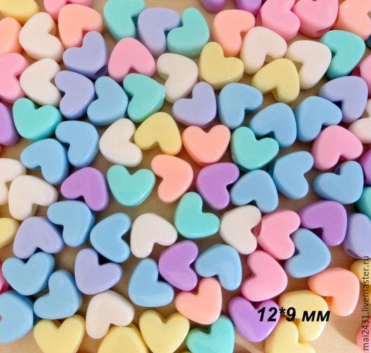 Для украшений ручной работы. Ярмарка Мастеров - ручная работа. Купить Бусины сердечки 12x9 мм, пластиковые, матовые. Handmade.