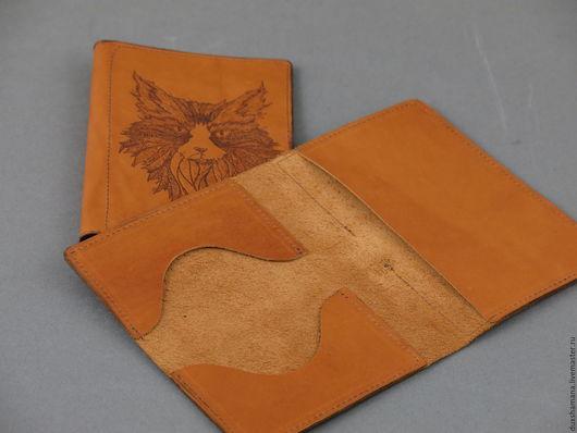 Обложки ручной работы. Ярмарка Мастеров - ручная работа. Купить Обложка под паспорт и карточки. Handmade. Оранжевый, обложка из кожи