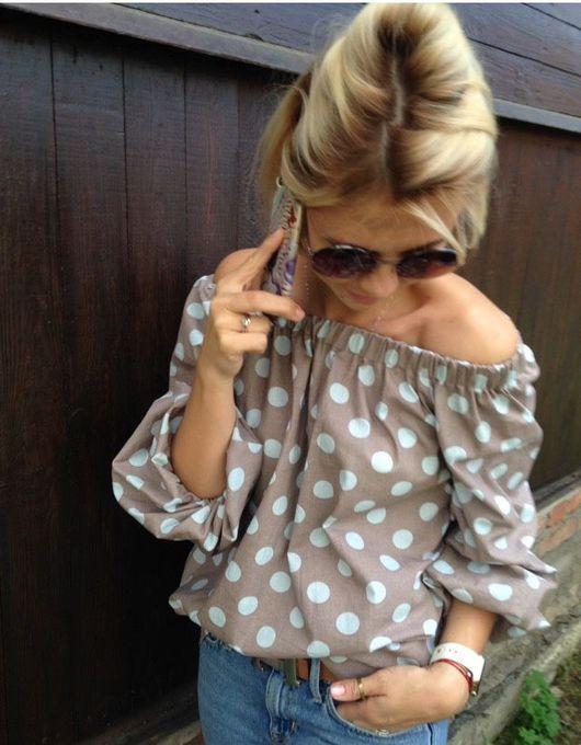 """Блузки ручной работы. Ярмарка Мастеров - ручная работа. Купить Блуза """"Кантри"""".. Handmade. Блуза женская, блуза-крестьянка"""