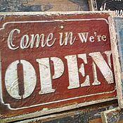 Картины и панно ручной работы. Ярмарка Мастеров - ручная работа Панно, табличка деревянная 20х15_ЛОФТ_We are Open. Handmade.