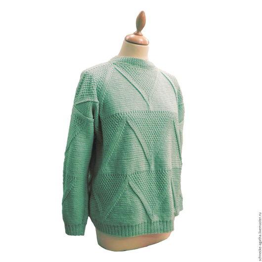 Кофты и свитера ручной работы. Ярмарка Мастеров - ручная работа. Купить Мятный свитер. Handmade. Однотонный, женский свитер