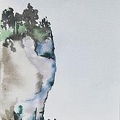 Картины и панно ручной работы. Ярмарка Мастеров - ручная работа Акварель Высокая скала на берегу моря Акварельная картина Море Лето. Handmade.