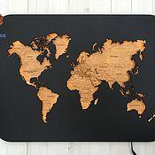 Декор ручной работы. Ярмарка Мастеров - ручная работа Карта мира с подсветкой М. Handmade.