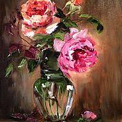 Картины и панно handmade. Livemaster - original item Oil painting Vivid Rose flowers on March 8. Handmade.