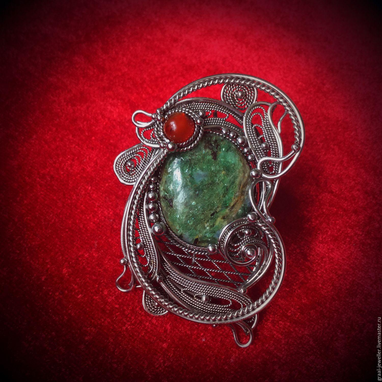 """Кольца ручной работы. Ярмарка Мастеров - ручная работа. Купить Кольцо с авантюрином """" Май."""". Handmade. Зеленый, скань"""