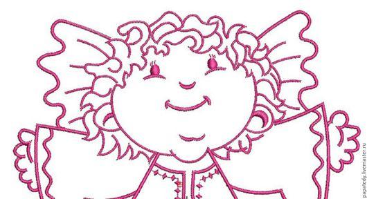 Иллюстрации ручной работы. Ярмарка Мастеров - ручная работа. Купить ангелочек, ред уорк, дизайн для машинной вышивки. Handmade.