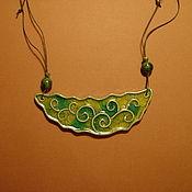 подвеска  Зелёные завитки Керамика