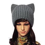 Аксессуары handmade. Livemaster - original item Hat with ears Cat ladies knitted elastic band. Handmade.