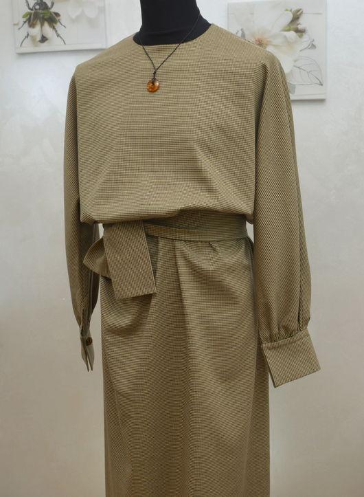Платья ручной работы. Ярмарка Мастеров - ручная работа. Купить Шерстяное платье. Handmade. Оливковый, без швов, стильное, осень