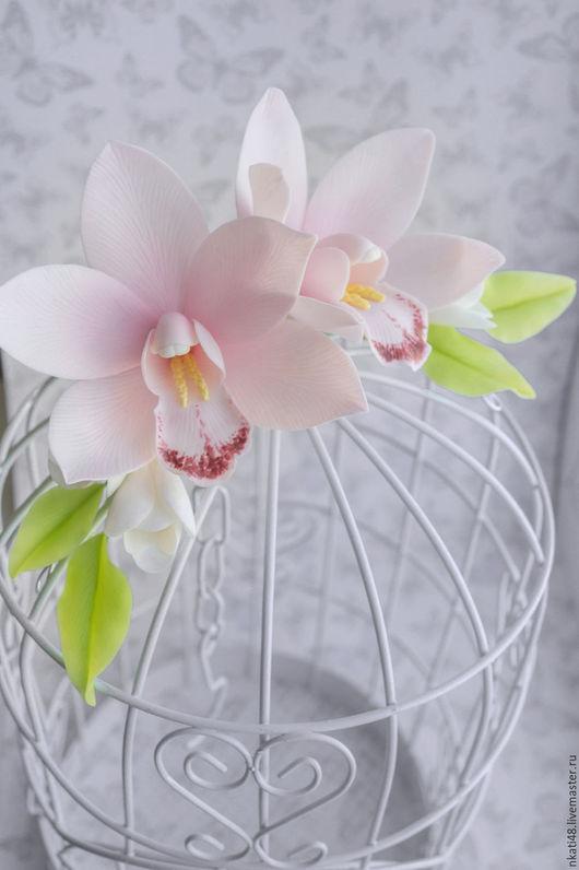 Диадемы, обручи ручной работы. Ярмарка Мастеров - ручная работа. Купить Веточка в прическу с орхидеями. Handmade. Бледно-розовый