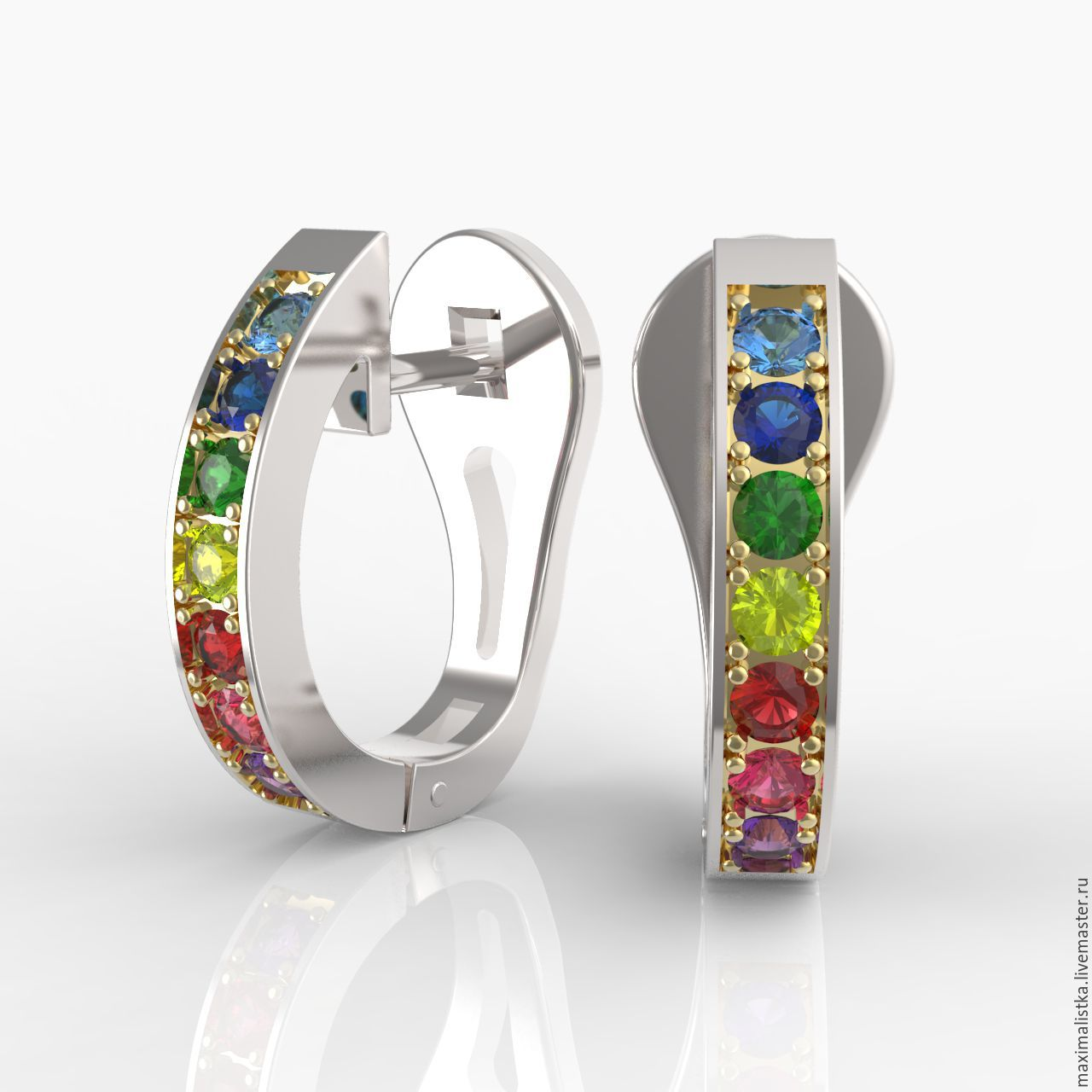 Multicolour earrings with colored sapphires, in 585 gold, Earrings, Moscow,  Фото №1
