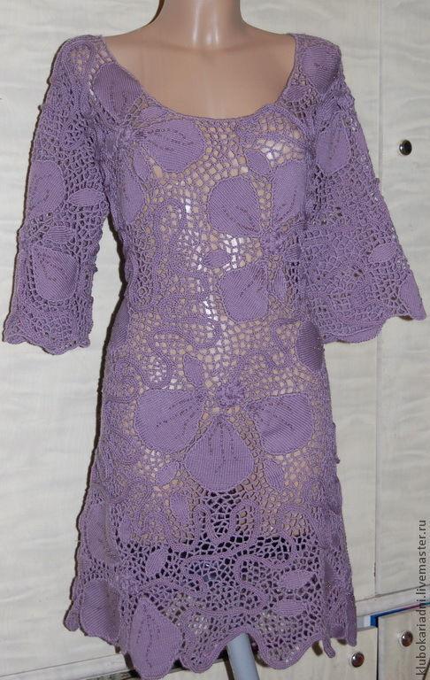 Платья ручной работы. Ярмарка Мастеров - ручная работа. Купить Платье ФИАЛКА. Handmade. Шерстяное платье, вязаное платье крючком
