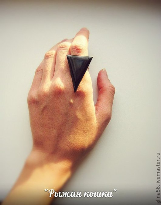 """Кольца ручной работы. Ярмарка Мастеров - ручная работа. Купить Кольцо  """"Перевернутый треугольник"""". Handmade. Черный, треугольник, женский символ"""