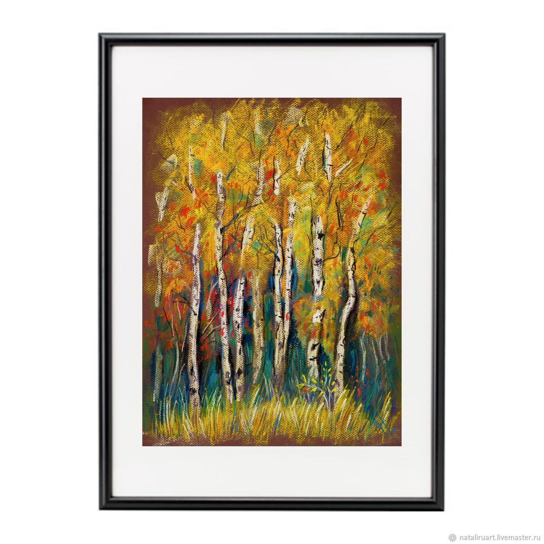Author's print Golden autumn. Native birches, Pictures, St. Petersburg,  Фото №1