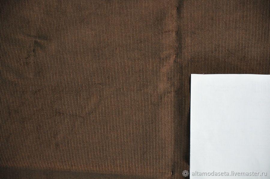 Вельвет стрейч коричневого цвета из Италии, Ткани, Москва,  Фото №1