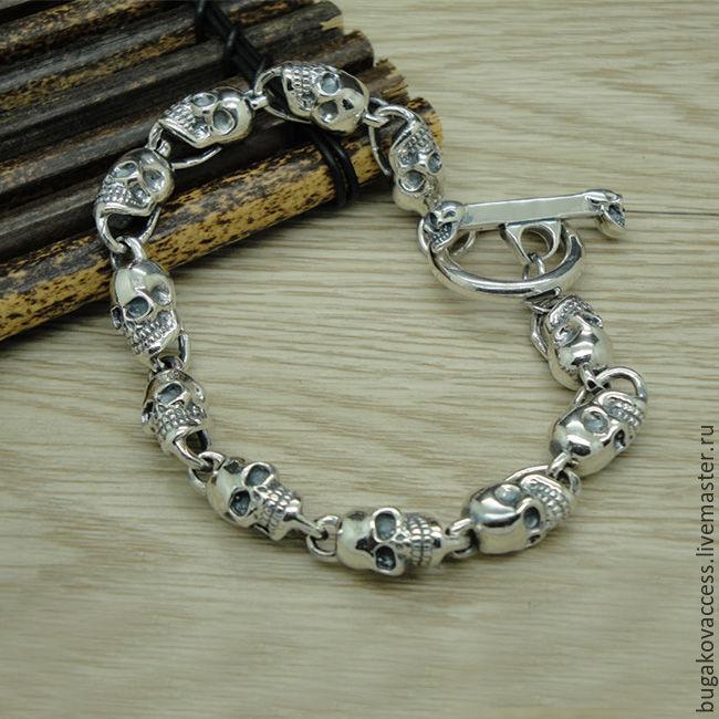 Подарок серебряный браслет парню