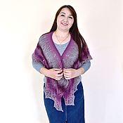 Аксессуары handmade. Livemaster - original item Shawl knitted openwork wool autumn, warm fishu scarf cape Bordeaux. Handmade.
