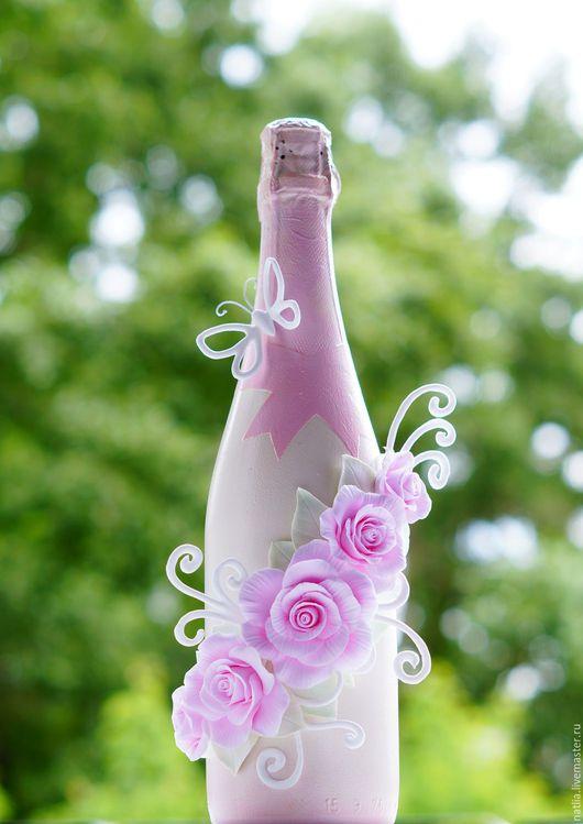 Свадебные аксессуары ручной работы. Ярмарка Мастеров - ручная работа. Купить Декорирование бутылок. Handmade. Бледно-розовый