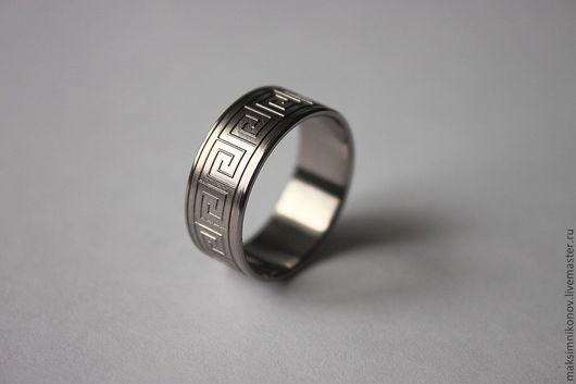 """Кольца ручной работы. Ярмарка Мастеров - ручная работа. Купить Кольцо из титана с гравировкой """"Меандр"""". Handmade. Титан, кольцо, украшения"""