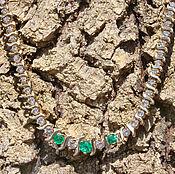 Necklace handmade. Livemaster - original item 5.25tcw Colombian Emerald & Diamond, Gold Riviera Necklace 14k, Cluste. Handmade.