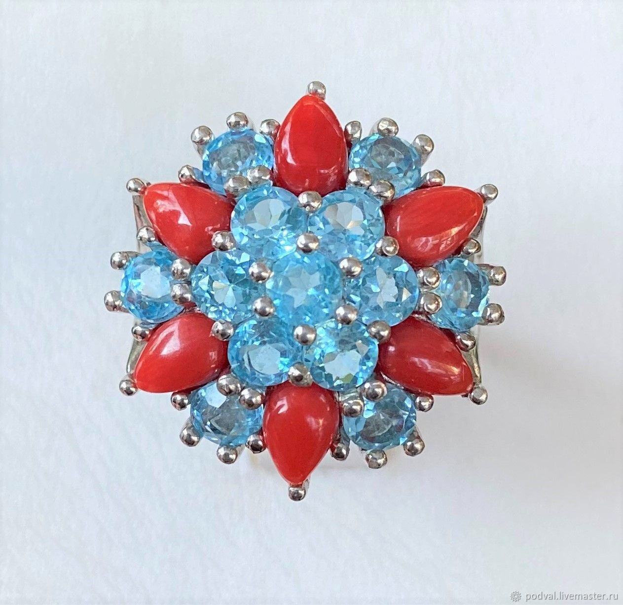 Ring with natural coral and topaz 'Astra' (17 and 18), Rings, Korolev,  Фото №1