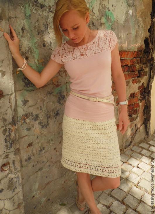 Юбки ручной работы. Ярмарка Мастеров - ручная работа. Купить Хлопковая юбка Simple. Handmade. Бежевый, юбка в офис