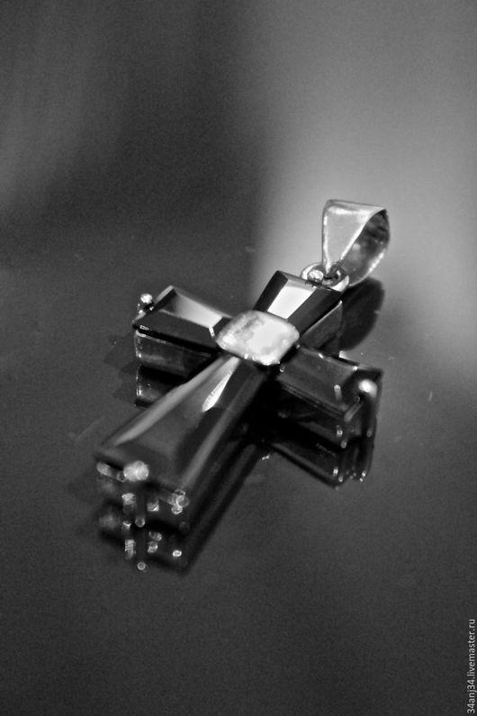 """Кулоны, подвески ручной работы. Ярмарка Мастеров - ручная работа. Купить Подвеска """"Крест"""". Handmade. Черный, кулон с ониксом, оникс"""
