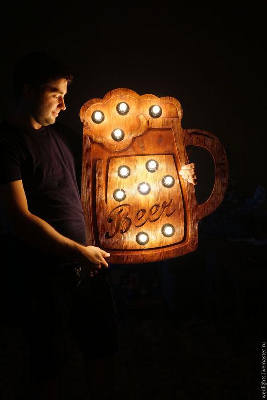 Рекламные вывески ручной работы. Ярмарка Мастеров - ручная работа. Купить Кружка пива. Handmade. Коричневый, реклама магазина, светильники