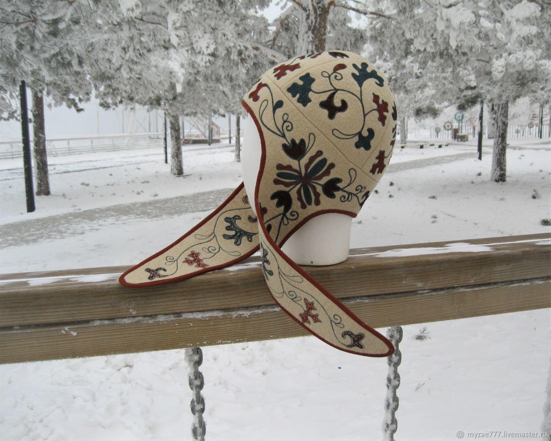 Felted hat With folk motifs Very warm hat With earflaps For women, Caps, Krasnoyarsk,  Фото №1
