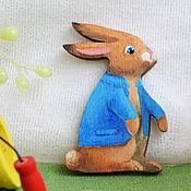 Украшения handmade. Livemaster - original item Wooden brooch Peter Rabbit. Handmade.