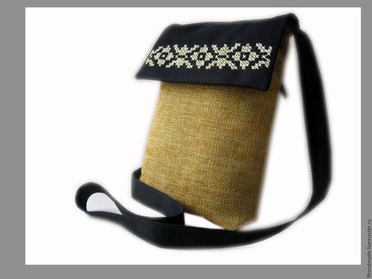 Женские сумки ручной работы. Ярмарка Мастеров - ручная работа. Купить Сумка вышитая с длинной ручкой casual горчичная. Handmade.