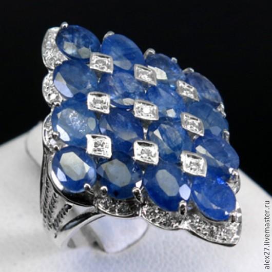 Кольцо сапфир р.17,3 серебро 925