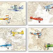 Картины и панно handmade. Livemaster - original item Planes and World map Set of posters for children 4 pieces. Handmade.