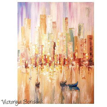 """Картины и панно ручной работы. Ярмарка Мастеров - ручная работа Картина """"Город"""" масло. Handmade."""