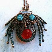 "Украшения handmade. Livemaster - original item Copper wire wrapped pendant ""Spider"". Handmade."