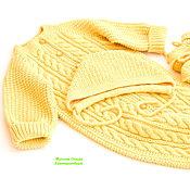 Работы для детей, handmade. Livemaster - original item Knitted jumpsuit with a cap and booties