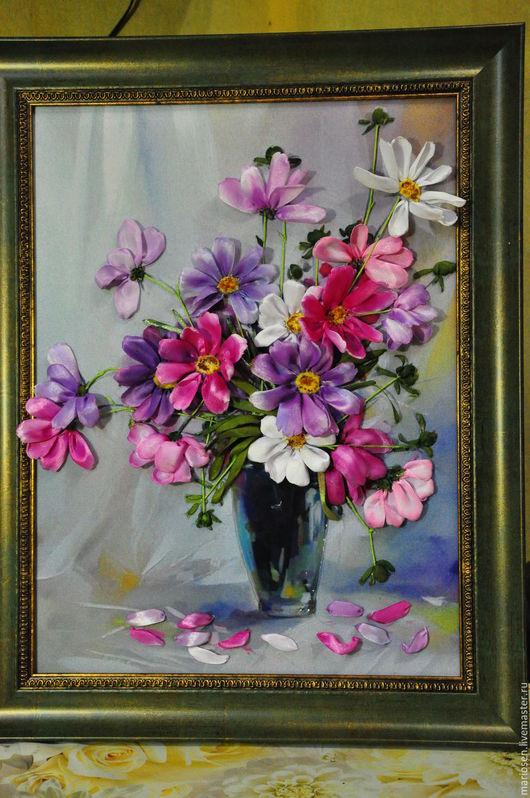Картины цветов ручной работы. Ярмарка Мастеров - ручная работа. Купить Космея в вазе. Handmade. Тёмно-фиолетовый, цветы, багет