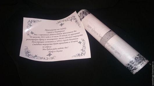 Свадебные аксессуары ручной работы. Ярмарка Мастеров - ручная работа. Купить Свадебные приглашения на вафельной бумаге. Handmade. Комбинированный, печать