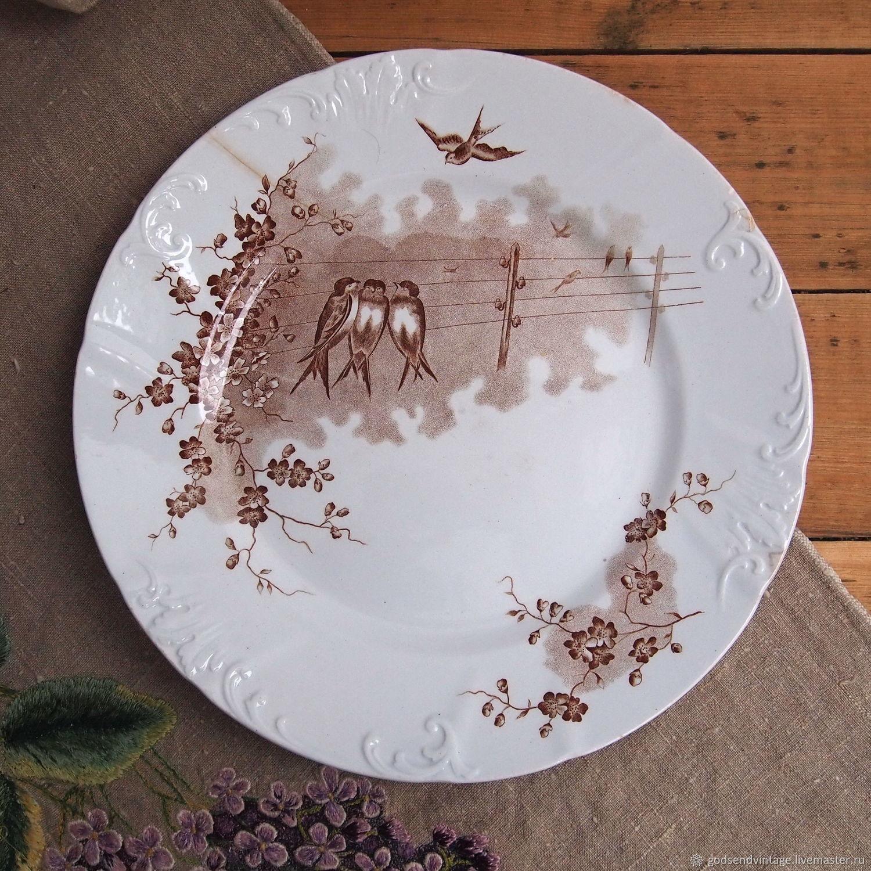 Vintage Kitchenware. Livemaster   Handmade. Buy Dining Plate Swallows,  Kuznetsov, Faience, ...