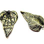 Материалы для творчества ручной работы. Ярмарка Мастеров - ручная работа Коннектор Лист крупный античная бронза. Handmade.