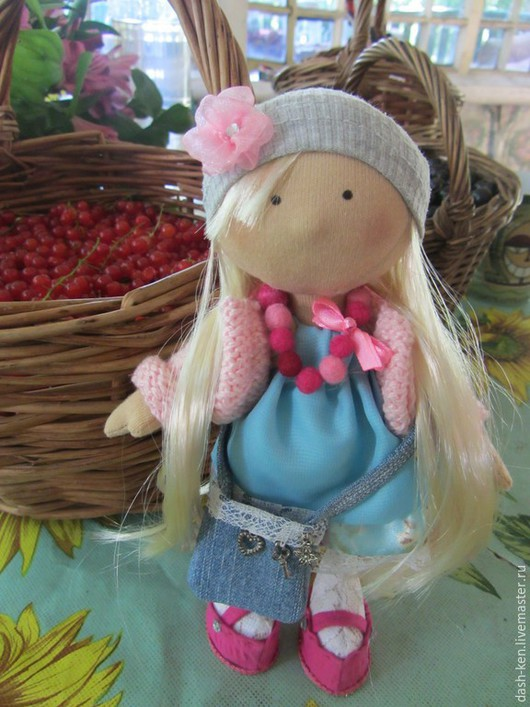 Коллекционные куклы ручной работы. Ярмарка Мастеров - ручная работа. Купить Ксюша. Handmade. Голубой, Снежка, хлопок американский