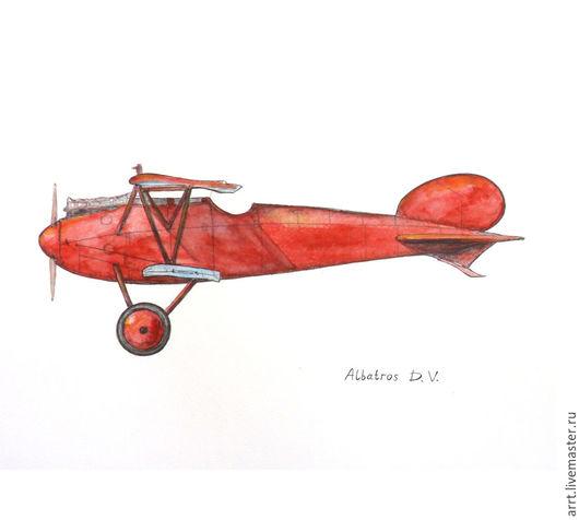 Город ручной работы. Ярмарка Мастеров - ручная работа. Купить Красный самолет Принт Ретро аэроплан. Handmade. Ярко-красный