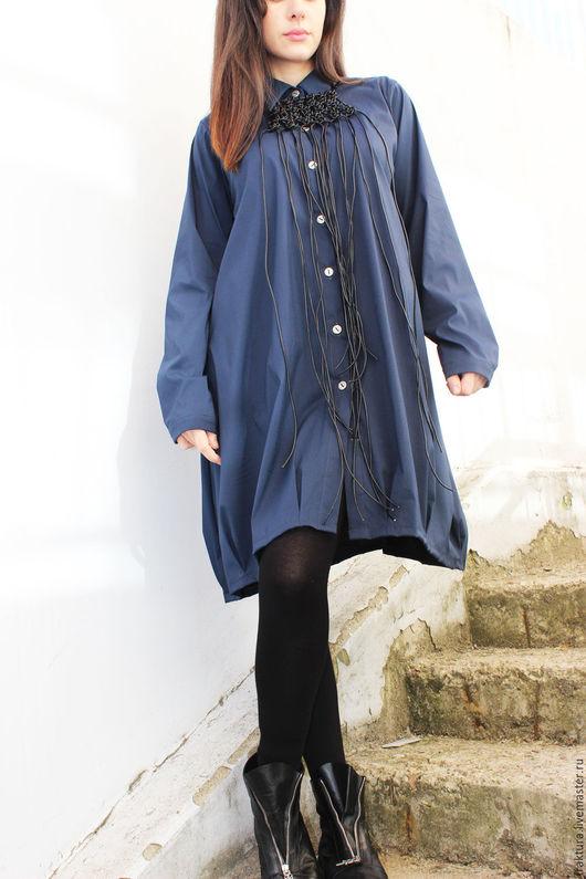 Блузки ручной работы. Ярмарка Мастеров - ручная работа. Купить Свободная рубашка  - синяя  B0037. Handmade. Тёмно-синий