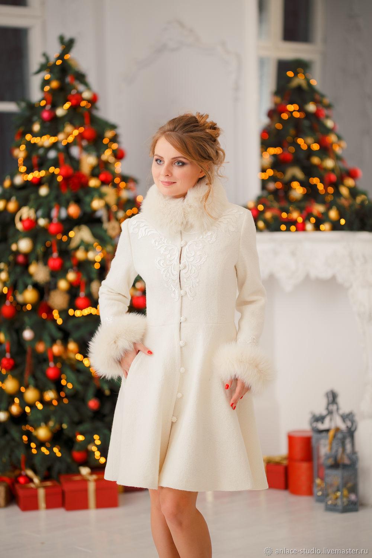 Свадебное Пальто Белое Женское Пальто с Мехом «Снежана», Накидки, Москва,  Фото №1